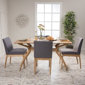 Upholstered Chairs Dining Room dining room furniture stencil ideas glass top table luxurious grey upholstered chair sleek white chairs Tunis 5 Piece Dining Set
