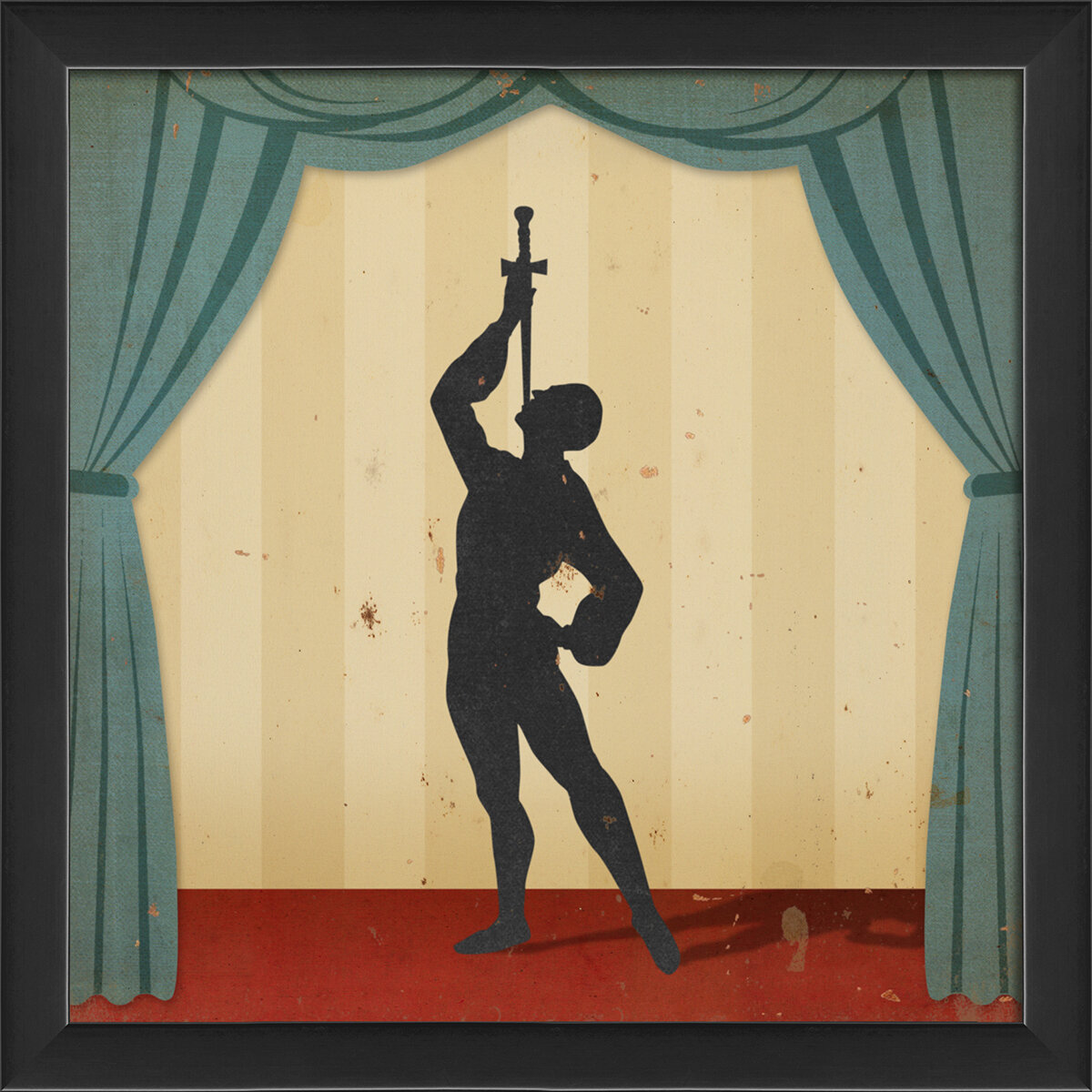 The Artwork Factory Stage Circus Performers Sword Swallower Framed ...