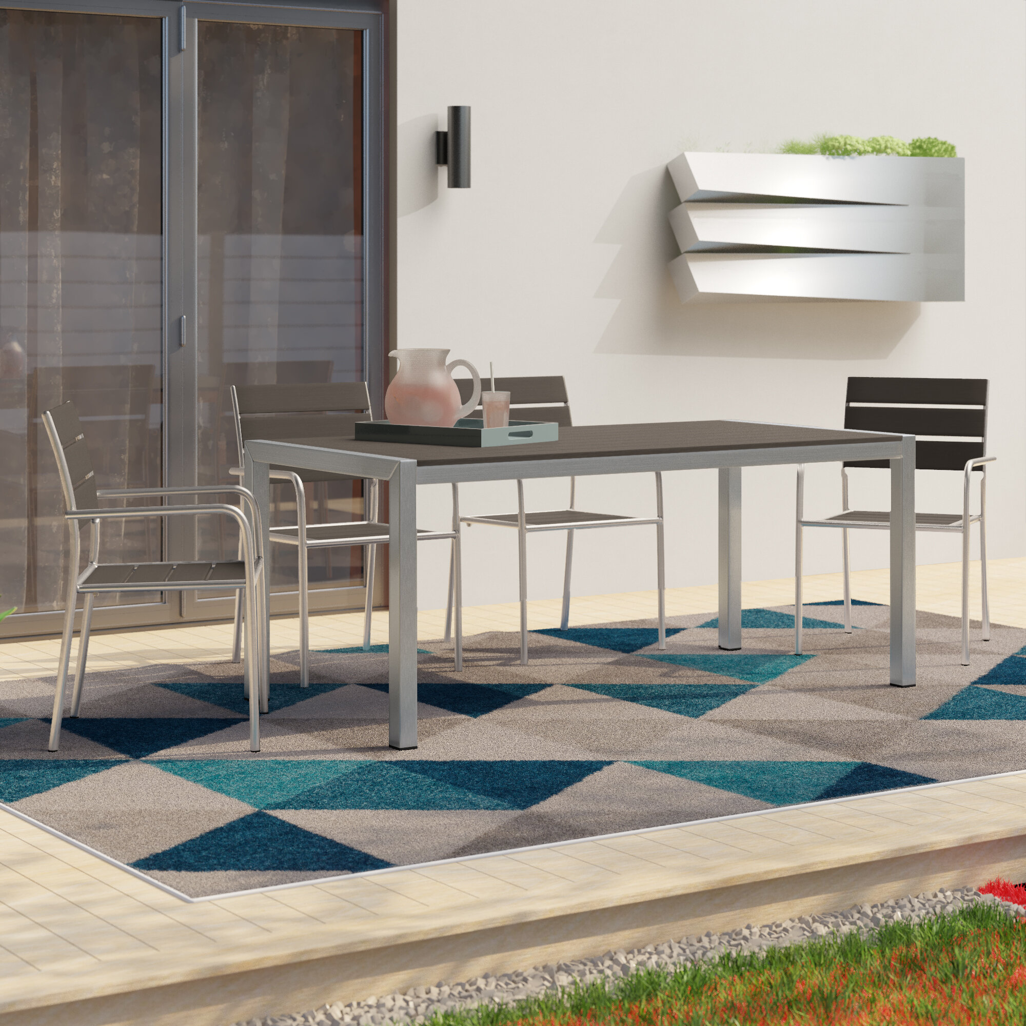 Orren Ellis Coline Outdoor Rectangular Patio Aluminum 5 Piece Dining Set Wayfair