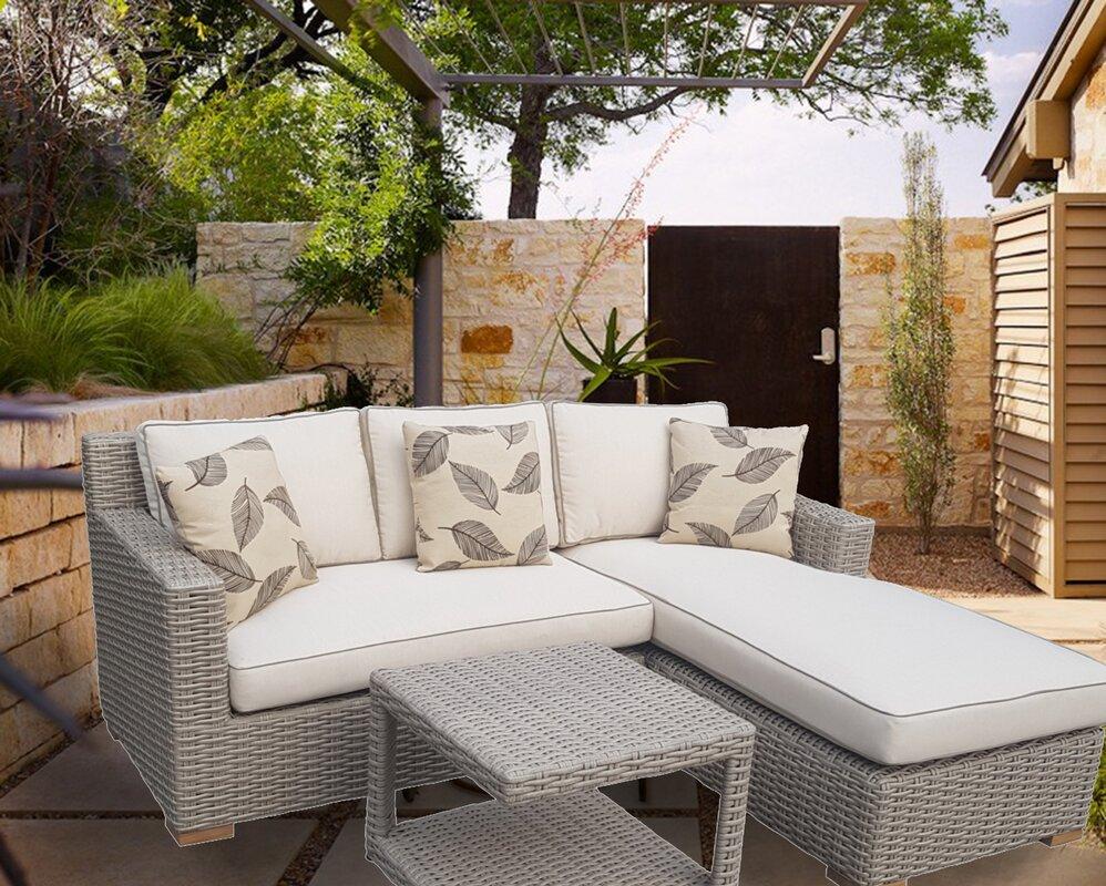 Jenessa Patio 3 Piece Rattan Sectional Set With Cushion