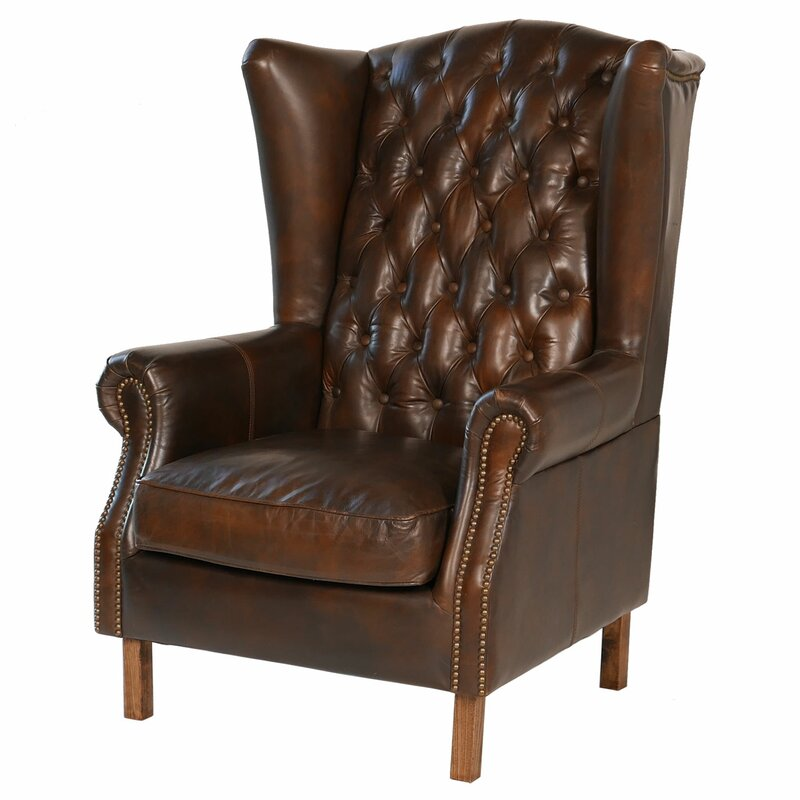 Elegant Old World Antique Leather Wingback Chair