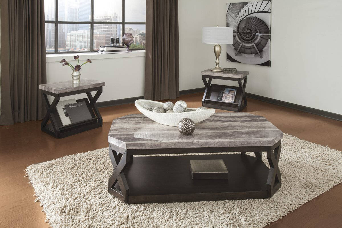 Latitude Run Kelton 3 Piece Coffee Table Set Reviews