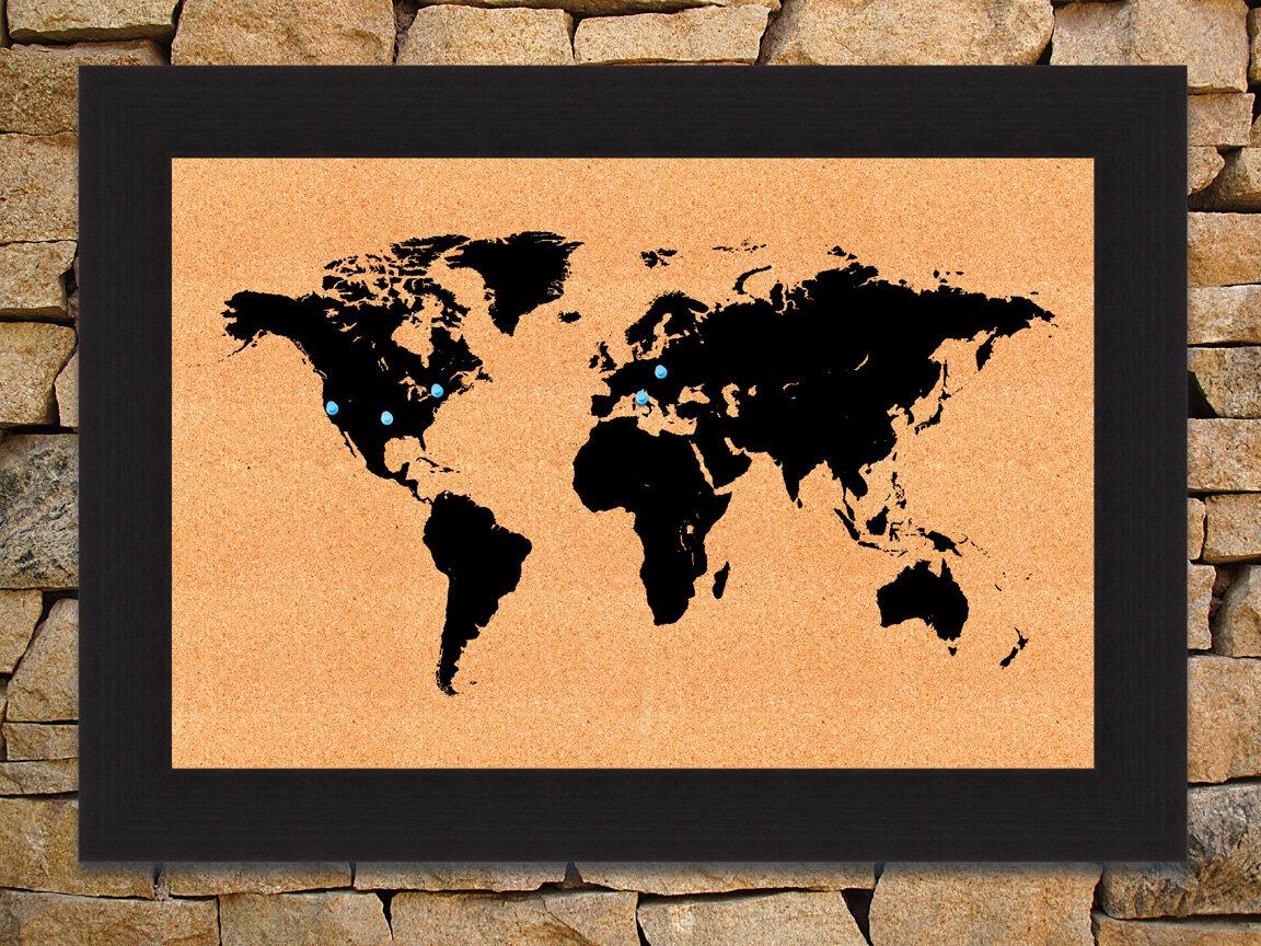 Hadleyhouseco world map wall mounted bulletin board wayfair gumiabroncs Images
