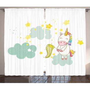 Matteo Unicorn Baby Sitting On Fluffy Clouds And Hunting Nursery Imagegraphic Print Text Semi Sheer Rod Pocket Curtain Panels Set Of 2