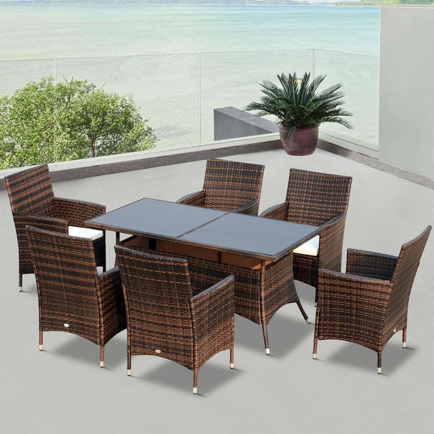 Outsunny 6 Seater Dining Set With Cushions U0026 Reviews | Wayfair.co.uk