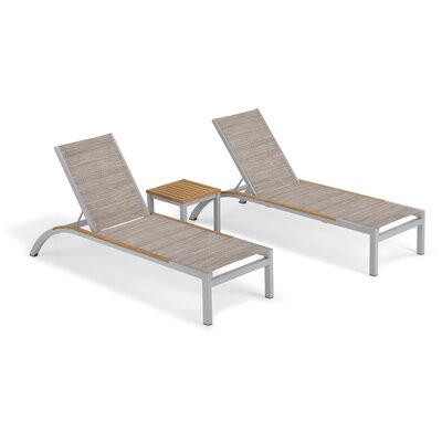 Brayden Studio Saint-Pierre 3 Piece Reclining Chaise Lounge with Table Color: Bellows