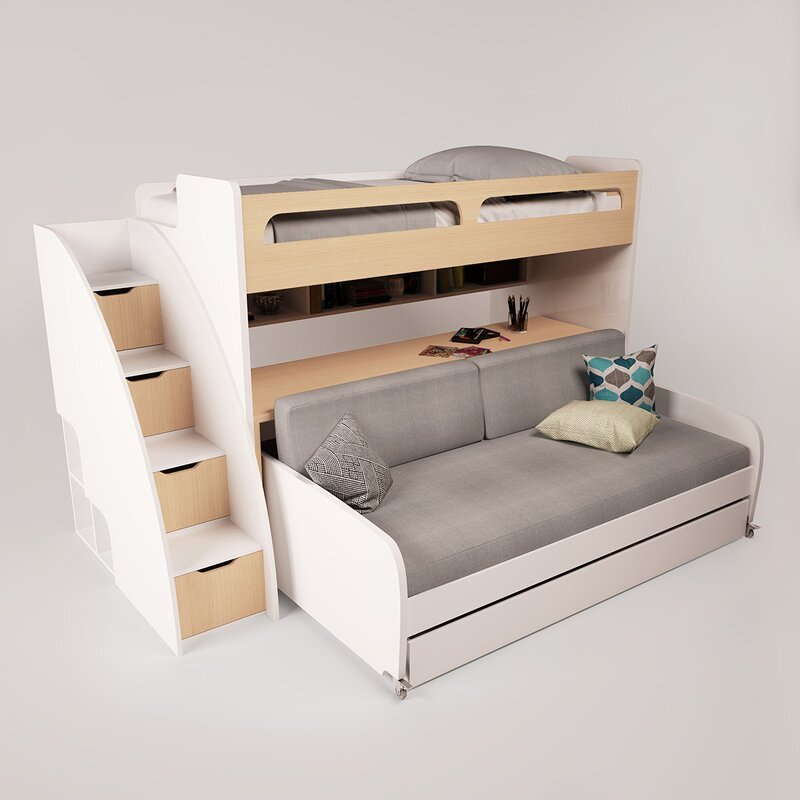 Brayden Studio Gautreau Twin Bunk Bed Over Full Xl Sofa Bed Table