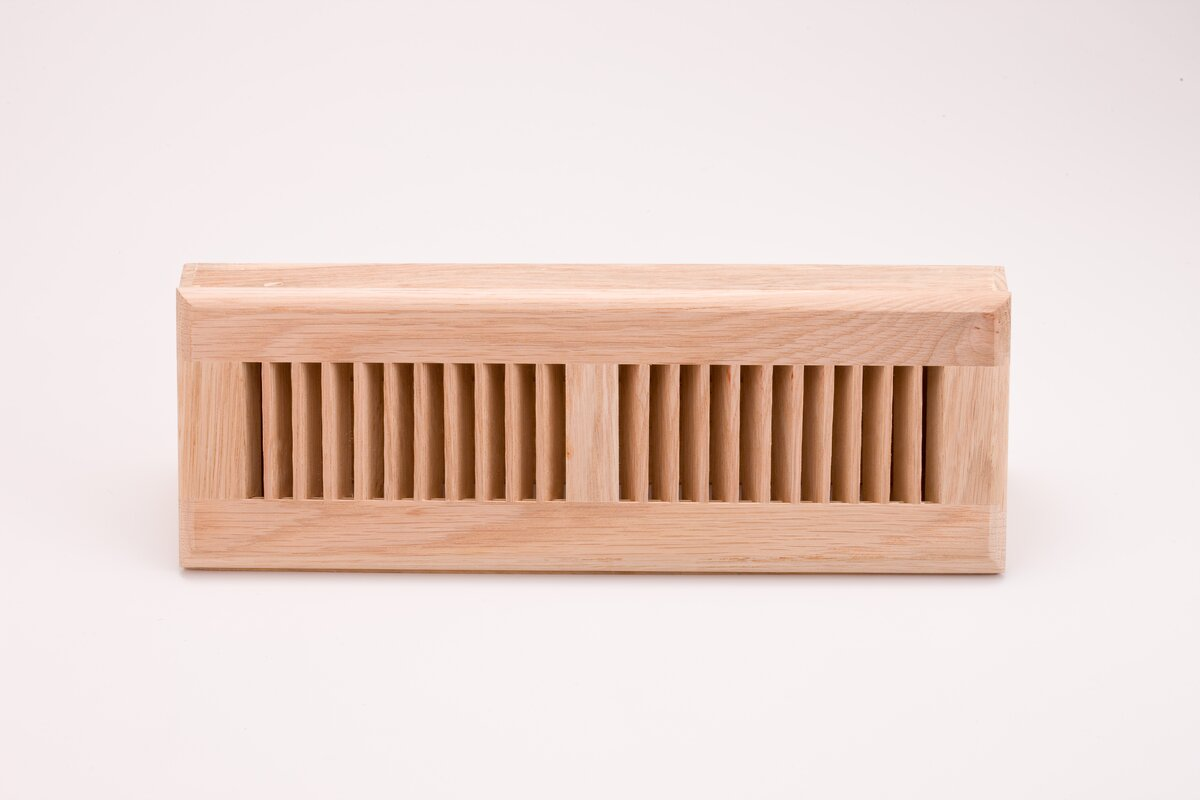 "3.63"" x 15.13"" White Oak Wood Surface Mount Floor Register"