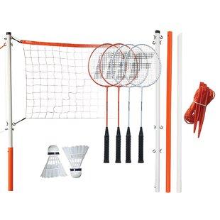 Shuttlecocks In A Case Badminton Poles Set Viva Net Sport 4 Rackets