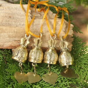 Brass Bell Ornament Crafted by Hand (Set of 4)