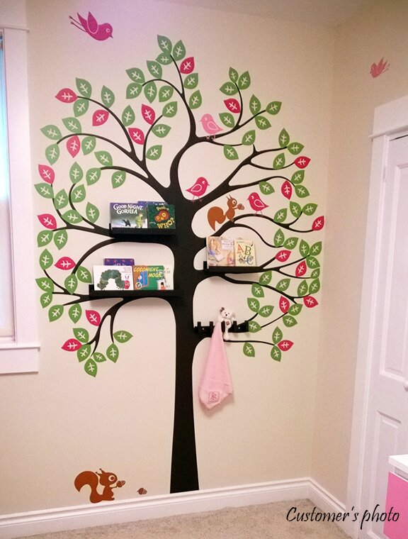 Pop Decors Shelving Tree With Birds And Squirrels Wall Decal - Wall decals birds