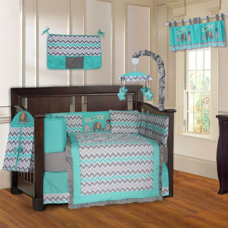 Slavens Elephant Zigzag 10 Piece Crib Bedding Set