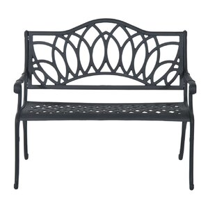 Brazell Decorative Lotus Flower Pattern Cast Aluminum Garden Bench