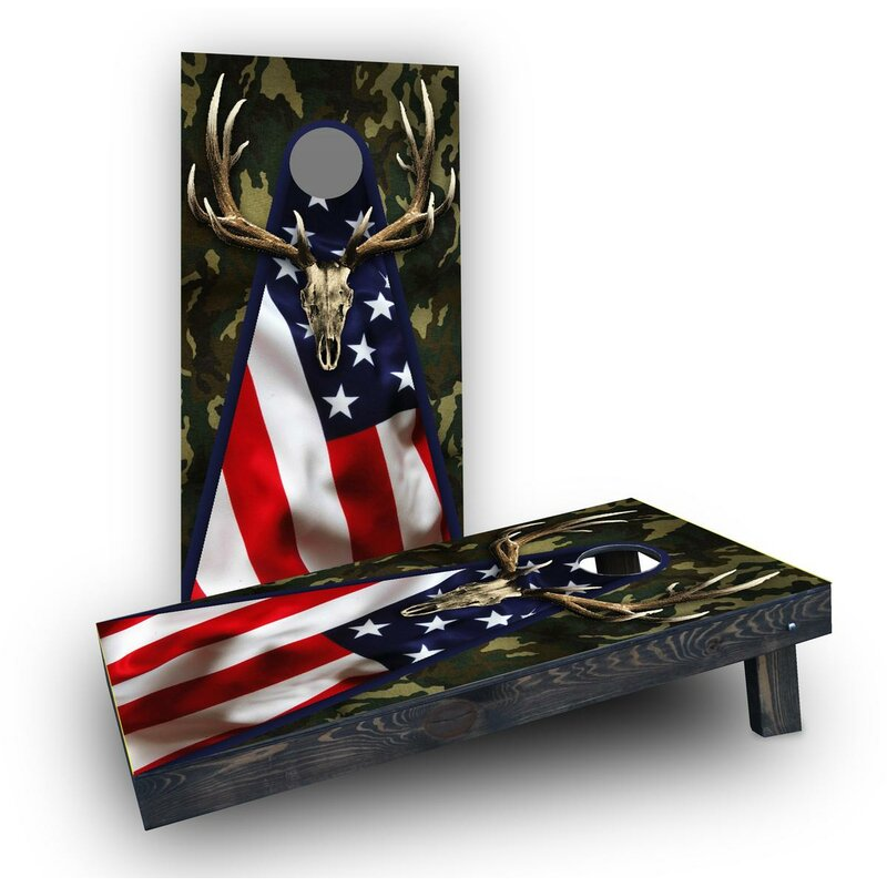 b59aa8a9c2e0 Patriotic Deer Mount with Camouflage Cornhole