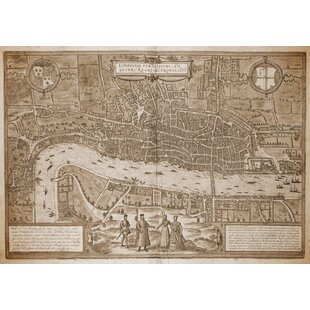 Map Of London By Georg Braun Framed Graphic Art