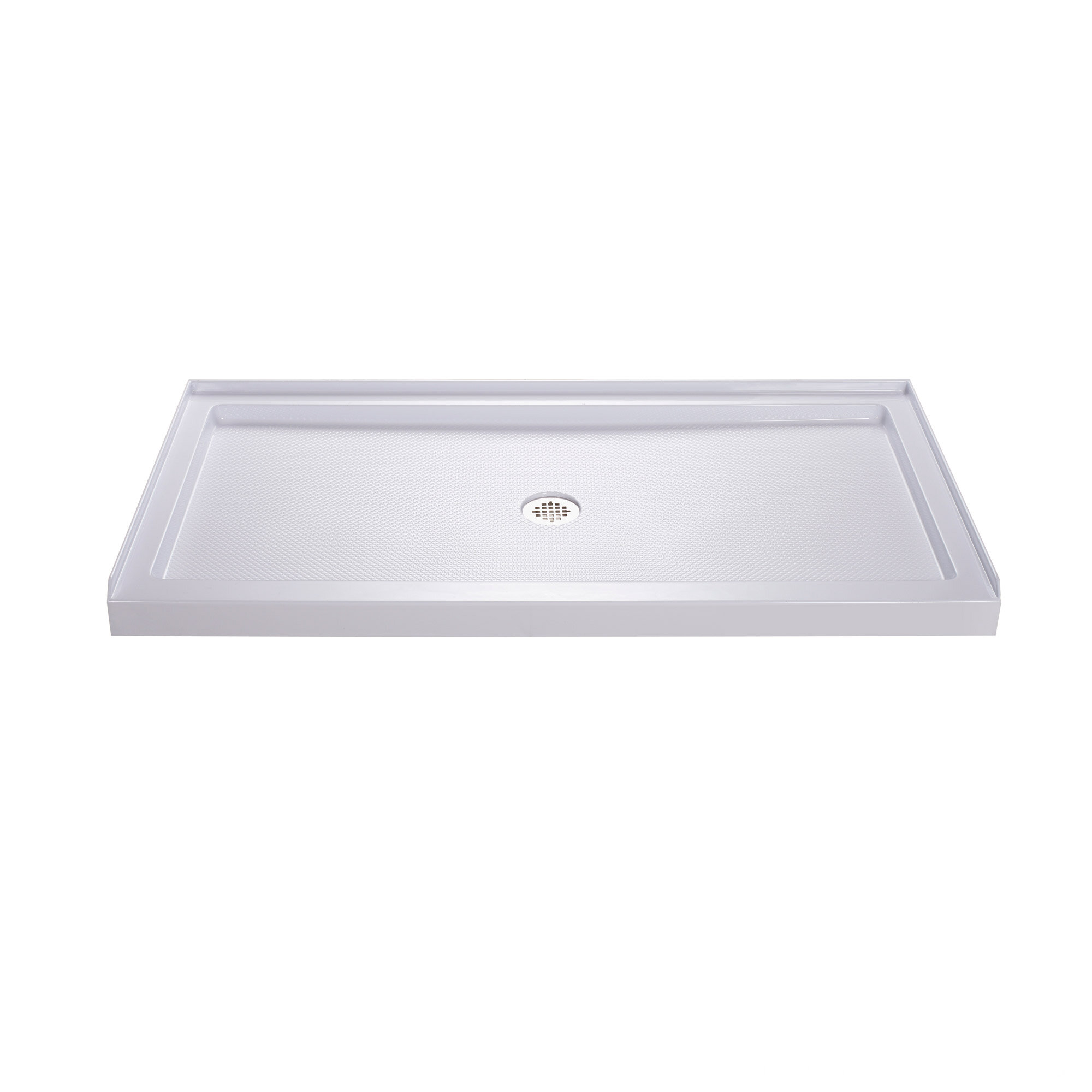 H Right Drain Acrylic Shower Base And QWALL 5 Backwall Kit In White |  Wayfair