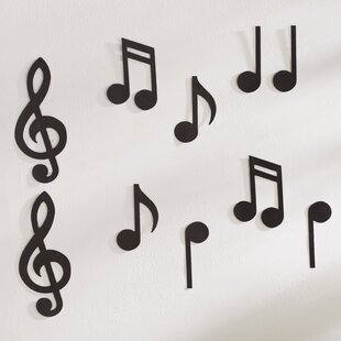 Musical Notes Silhouettes Wall Décor Set Of 10