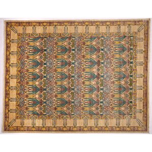 One Of A Kind Arts And Crafts Hand Knotted Beige Area Rug