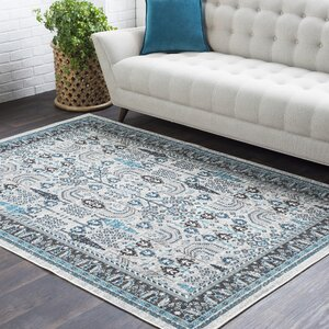 Riverbend Floral Ivory/Gray Area Rug