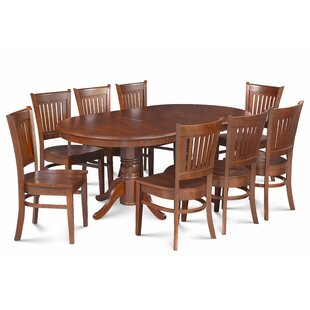 Miriam Solid Wood 9 Piece Extendable Solid Wood Dining Set