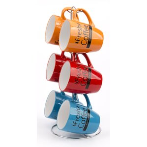6 piece drumshaped coffee mug set with stand