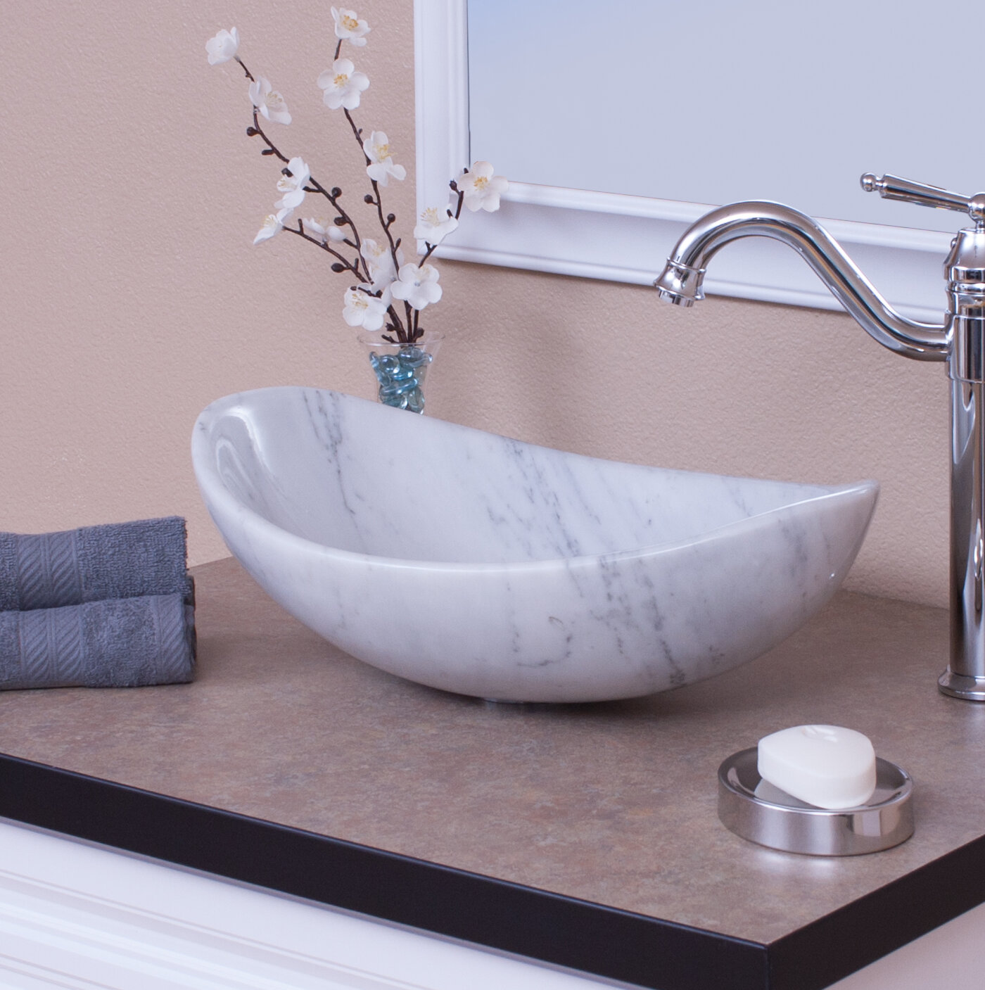 Novatto carrera stone oval vessel bathroom sink wayfair