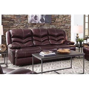 Washington Manual Motion Leather Reclining Sofa by Three Posts