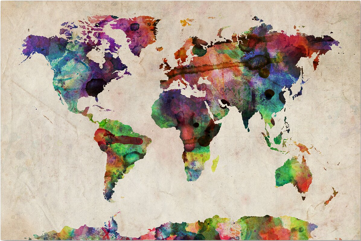 Mistana urban watercolor world map framed on beige canvas urban watercolor world map framed on beige canvas gumiabroncs Gallery
