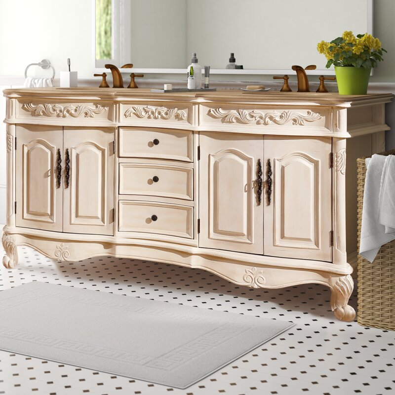 One Allium Way Svetlana 72 Double Sink Cabinet Bathroom Vanity Set