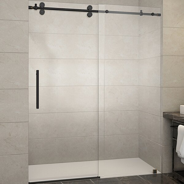 Aston Langham 60  x 75  Single Sliding Frameless Shower Door u0026 Reviews | Wayfair & Aston Langham 60