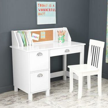 """35.75"""" Writing Desk With Hutch Color: White"""