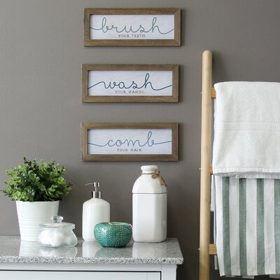 3 piece wash brush comb wall décor set set of 3