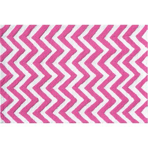 Hand Hooked Pink/White Area Rug
