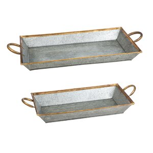 Genevie 2 Piece Serving Tray with Brass Trim Set