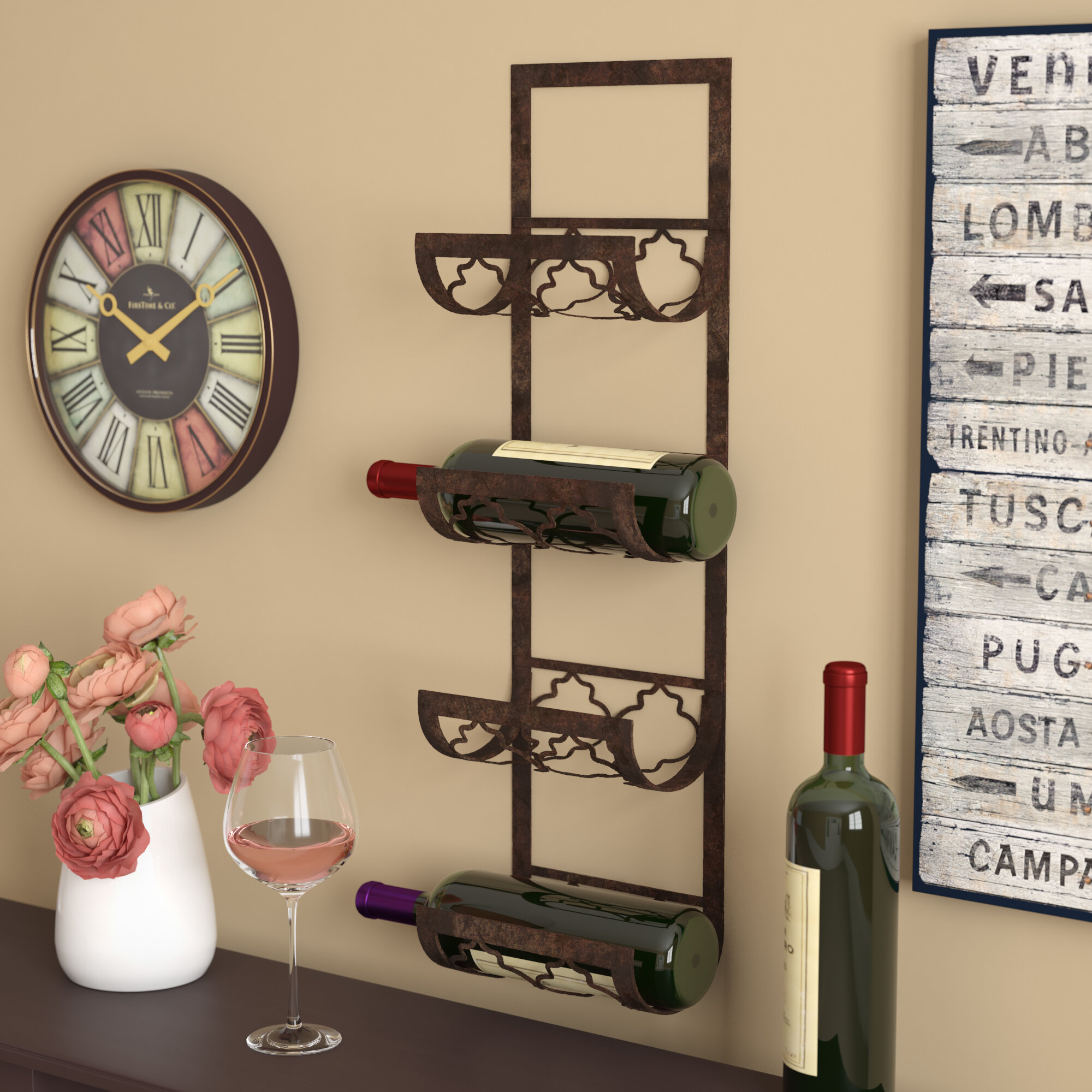 Fleur De Lis Living Brashears 4 Bottle Wall Mounted Wine Rack