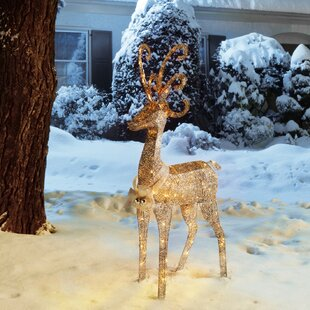 Crystal Standing Deer Christmas Decoration Lighted Display