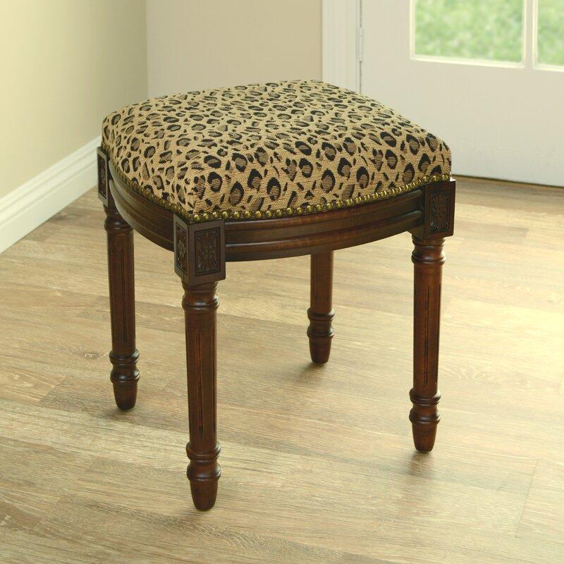 123 Creations Leopard Print Upholstered Vanity Stool & Reviews ...