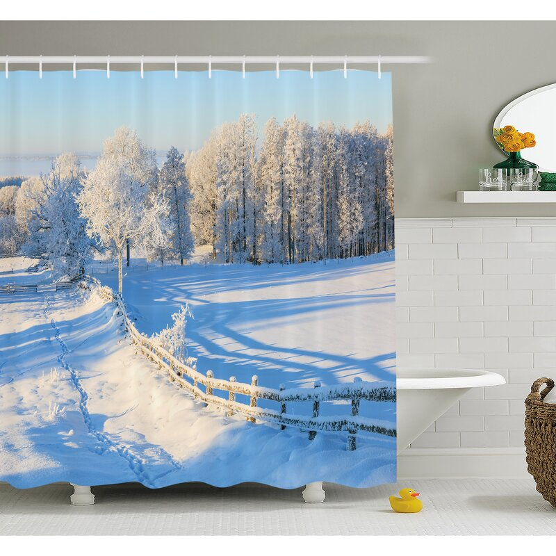 Ambesonne Farm House Winter Snow Valley With Oak Borders Pines Frozen Pastoral High Cold Lands Shower Curtain Set