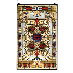 victorian estate floral stained glass window - Meyda Tiffany