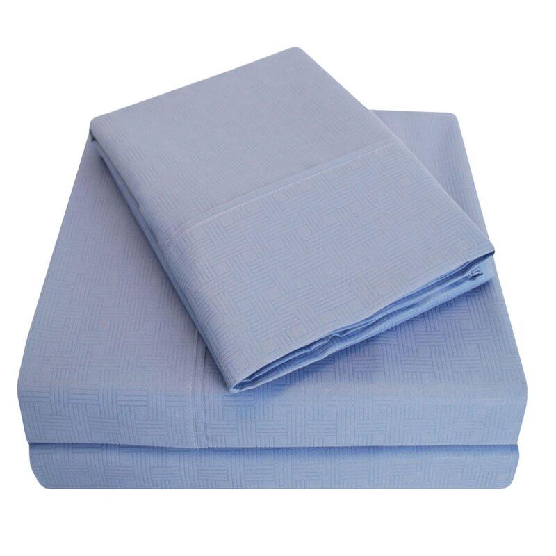 Simple Luxury Embossed Egyptian Quality Cotton Microfiber Sheet Set Reviews Wayfair