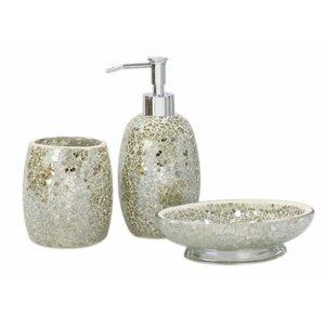 sparkle mosaic 3 piece bathroom accessory set
