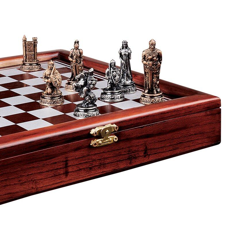 Open Foyer Chess : Design toscano decorative knights mortal conflict chess