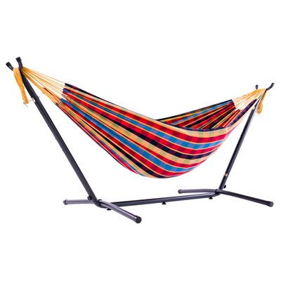 Beachcrest Home Dorinda Double Hammock with Stand Stand Color: Black, Color: Blue/Red/Yellow