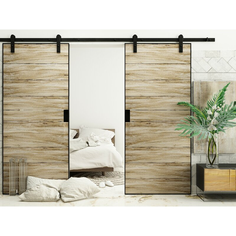 Double Door Straight Design Barn Door Hardware