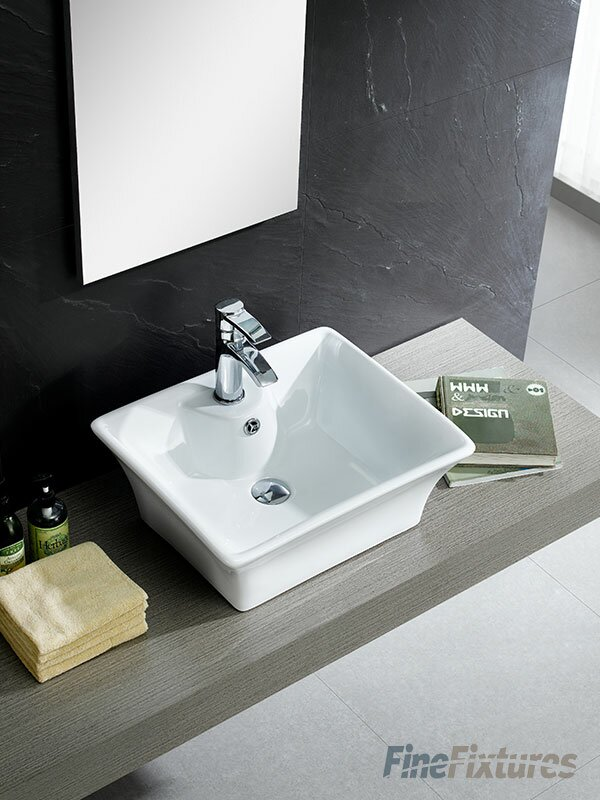 Fine Fixtures Modern Vitreous China Square Vessel Sink Faucet