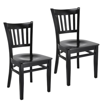 Jeske Slatback Solid Wood Dining Chair Charlton Home Finish: Black