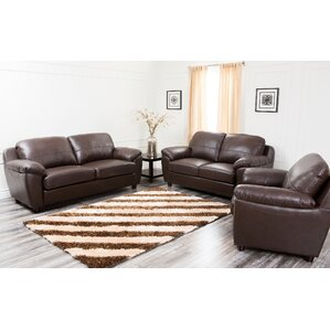 Bartholomew 3 Piece Leather Living Room Set ..