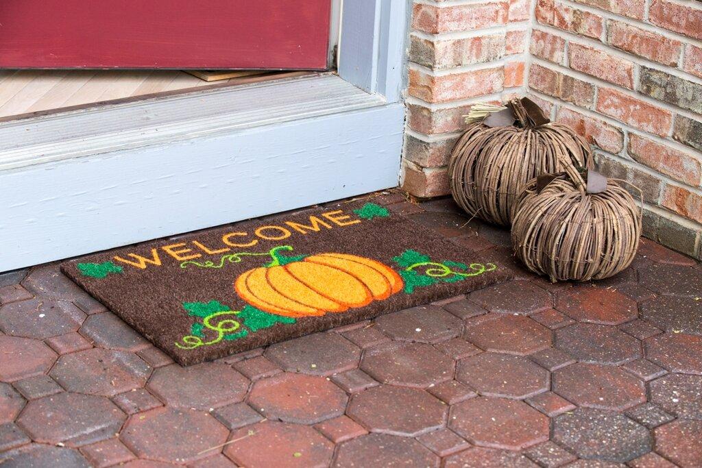 Sweet Home Welcome Pumpkin Non Slip Coir Doormat