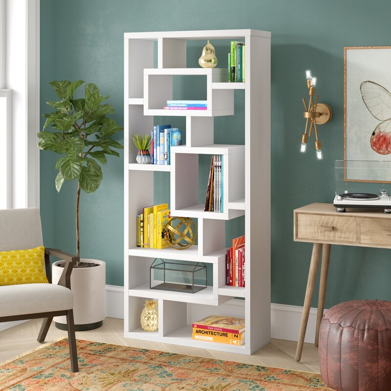 Mercury Row Cleisthenes Geometric Bookcase Amp Reviews Wayfair