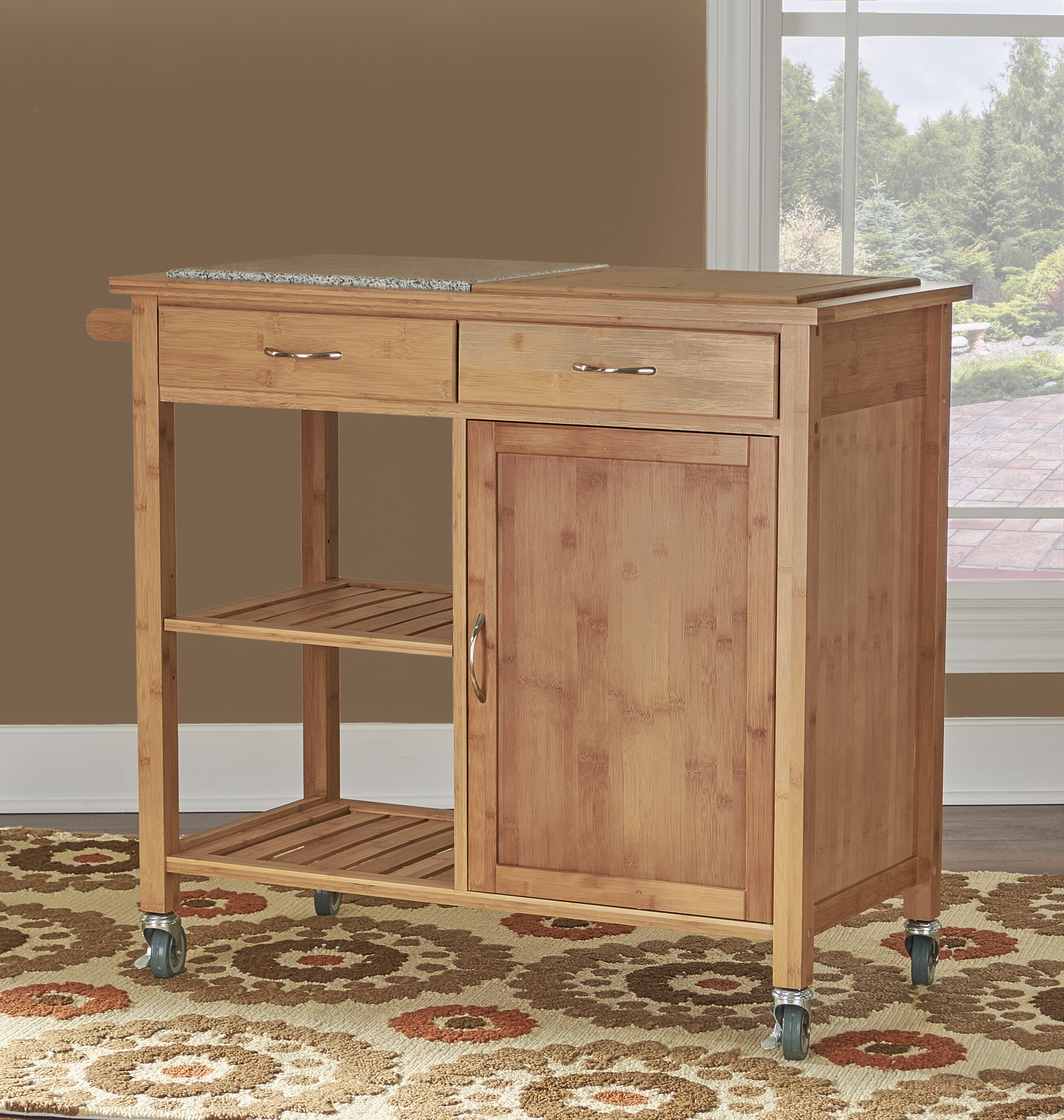 Millwood Pines Rafferty Kitchen Cart With Granite Top & Reviews